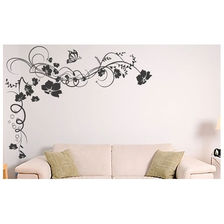 Butterfly Flower Vine Vinyl Wall Art