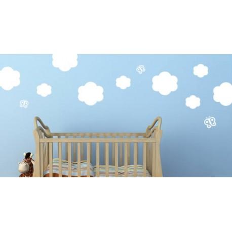 clouds and butterflies (60cm x 60cm) vinyl wall art