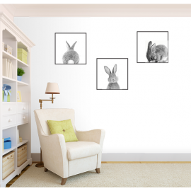 Set of 3 bunny canvas