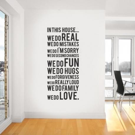 "modern house rule ""we do real"" vinyl wall art"