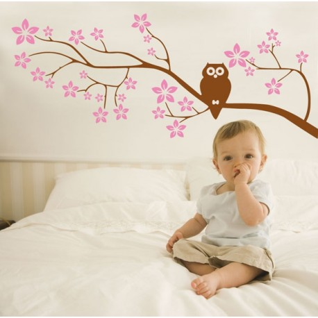 Pink & Brown Owl Branch Vinyl Wall Art