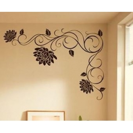Swirling Lotus Vinyl Wall Art