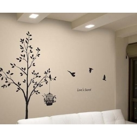 "Tree ""Love's Secret"" with Birdcage Vinyl Wall Art"