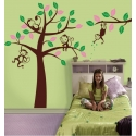 Set of 4 Brown Monkeys in Tree with Pink & Green Leaves Vinyl Wall Art