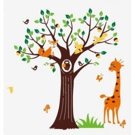 Giraff & Forest Animal Tree Vinyl Wall Art