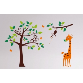 Giraff & 3 Monkeys in Tree Vinyl Wall Art
