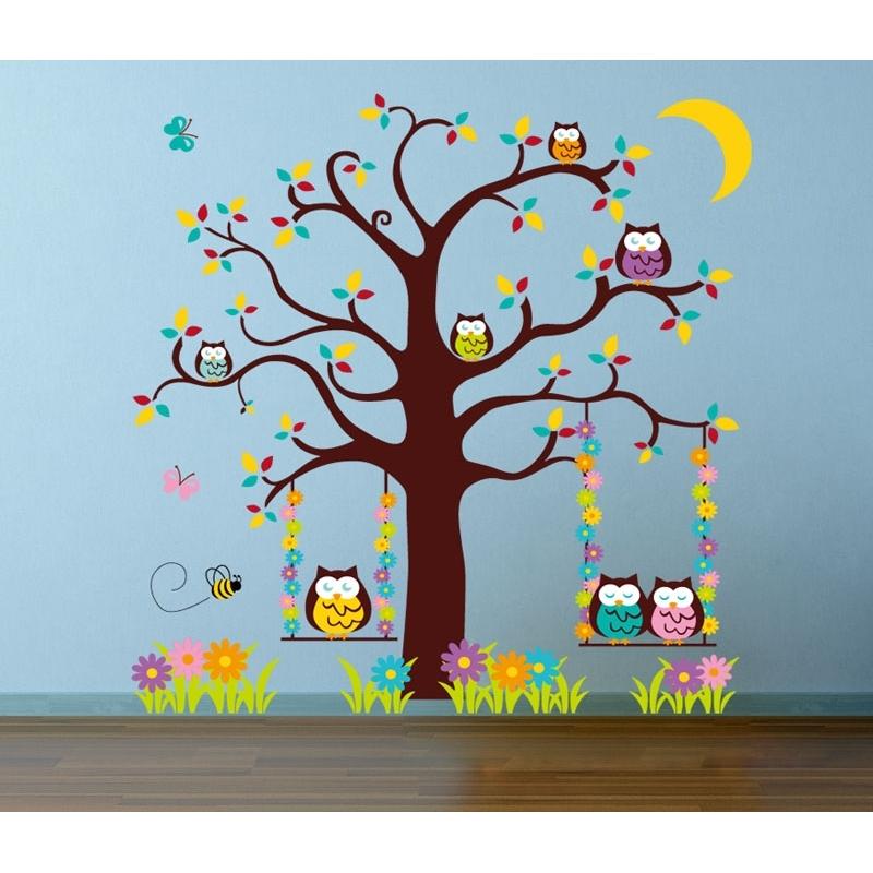 colourful owl tree vinyl wall art