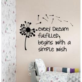 """Every dream fulfilled"" Dandelion Vinyl Wall Art"