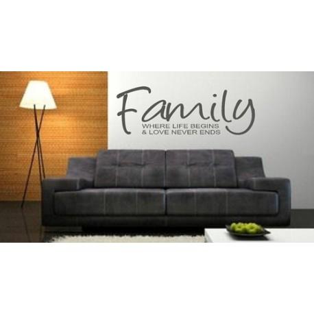 """""""Family, where life begins & love never ends"""" Vinyl Wall Art"""