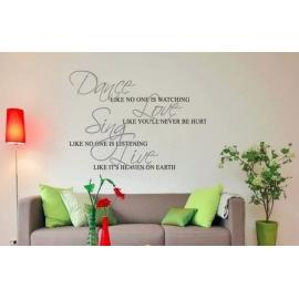 """Fancy """"Dance Love Sing Live"""" Vinyl Wall Art"""