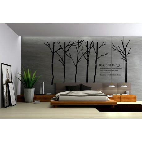 """Beautiful Things"" Forest Trees Vinyl Wall Art"